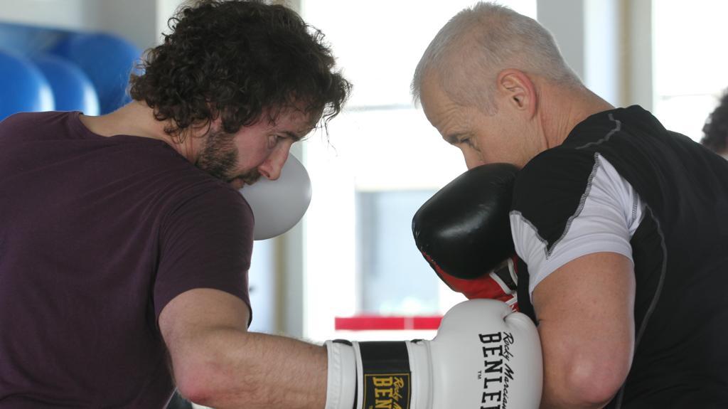 Coach Peter und Kunde Olli beim Boxtraining